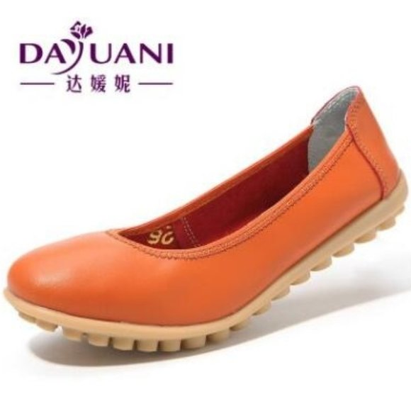 Leather Flats Slip On Shoes